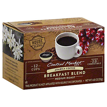 Central Market Breakfast Blend Medium Roast Single Serve Coffee Cups, 12 ct