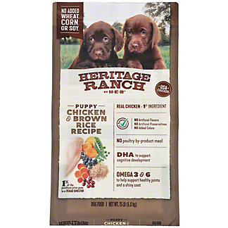 Heritage Ranch by H-E-B Puppy Chicken & Brown Rice Recipe Dry Puppy Food, 15 lb