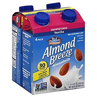 Blue Diamond Almond Breeze Unsweetened Vanilla Almond Breeze 4 Ct.,32 Oz