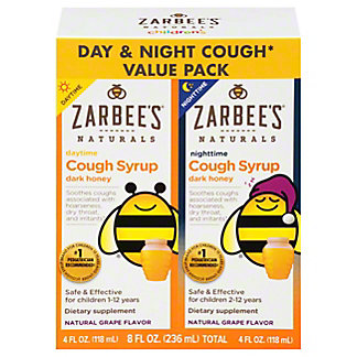 Zarbee's Naturals Childrens Day/night Cough Syrup Twin Pack, 8 oz