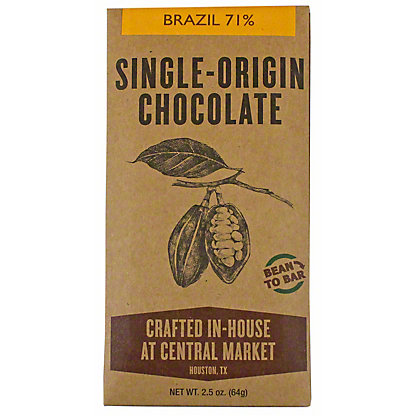 Central Market Bean To Bar Brazil 71%, 2.5 oz