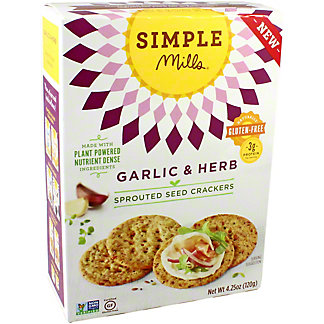 Simple Mills Sprouted Crackers Garlic & Herb, 4.25 oz