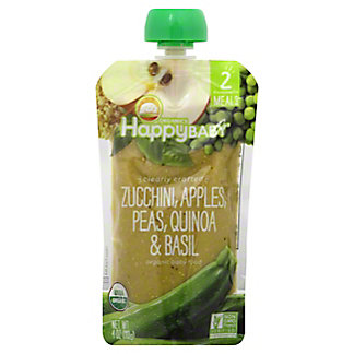 Happy Baby Organics Clearly Crafted Stage 2 Zucchini Apples Peas Quinoa & Basil, 4 oz