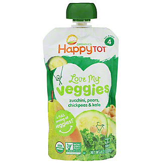 Happy Tot Love My Veggies Zucchini Pear Chickpeas Kale, 4.22 oz