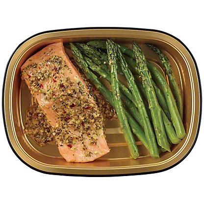 H-E-B Meal Simple Garlic Pesto Atlantic Salmon with Asparagus, 8 oz