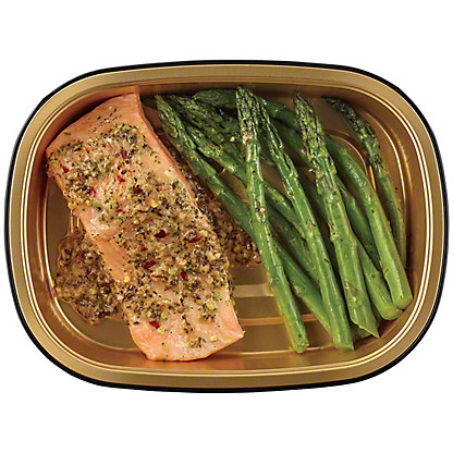 H-E-B Meal Simple Garlic Pesto Atlantic Salmon with Asparagus, 8 oz