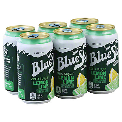 Blue Sky Lemon Lime Zero Sugar 12 oz Cans, 6 pk
