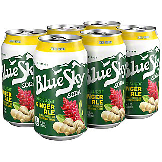 Blue Sky Ginger Ale Zero Sugar 12 oz Cans, 6 pk