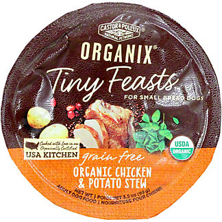 Castor & Pollux Organix Dog Food Tiny Feast Grain Free Organic Chicken and Potato Stew, 3.5 oz