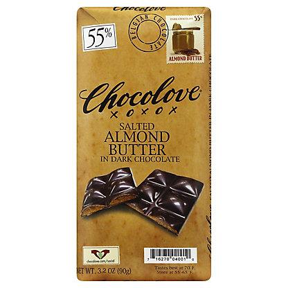 CHOCOLOVE Dark Chocolate Salted Almond Butter Bar, 3.2 oz