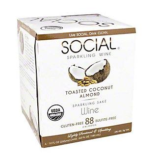 Social Toasted Coconut Almond Sparkling Sake 10 oz Cans, 4 pk