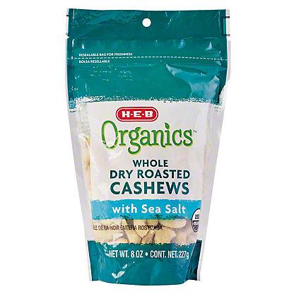 H-E-B Organics Whole Dry Roasted Cashews with Sea Salt, 8 oz
