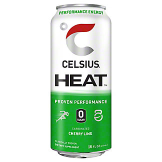 Celsius Heat Cherry Lime, 16 oz