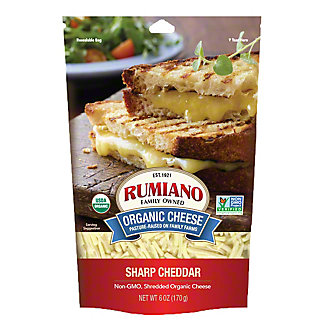 Rumiano Organic Sharp Cheddar Shreds, Ea