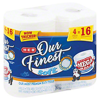 H-E-B Our Finest Bath Ultra Soft Mega Roll, 4 ct