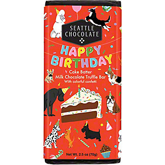 Seattle Chocolates Birthday Cake Batter Milk Chocolate Truffle Bar, 2.5 OZ