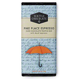 Seattle Chocolates Pike Place Espresso Dark Chocolate Truffle Bar, 2.5 OZ