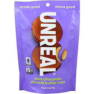 Unreal Dark Chocolate Almond Butter Cups, 3.2 oz