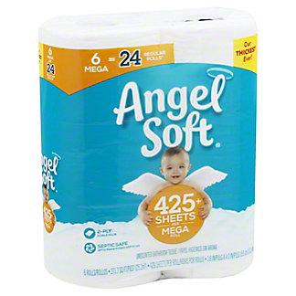 ANGEL SOFT Angel Soft Bath Tissue White, 6 Mega Rolls