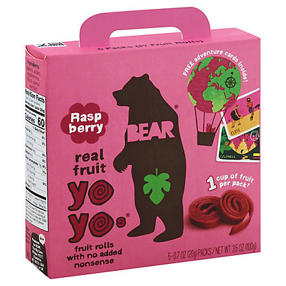 Bear Yoyos Fruit Roll Raspberry, 5 ct
