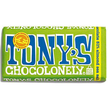 Tonys Chocolonely Dark Chocolate 51% Almond Sea Salt Bar, ea