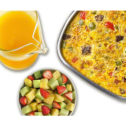 Egg Casserole with Sausage, Ham, and Peppers Breakfast Package, Serves 4-6