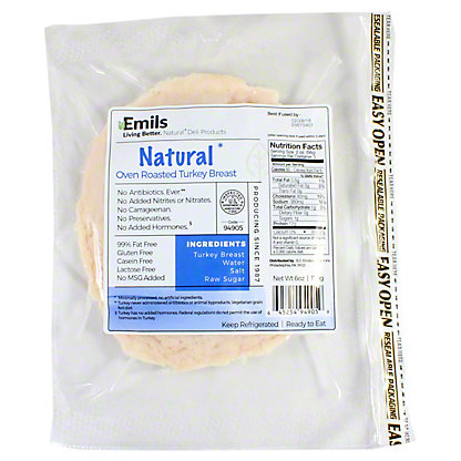 Emils Natural Oven Roasted Turkey, 6 oz