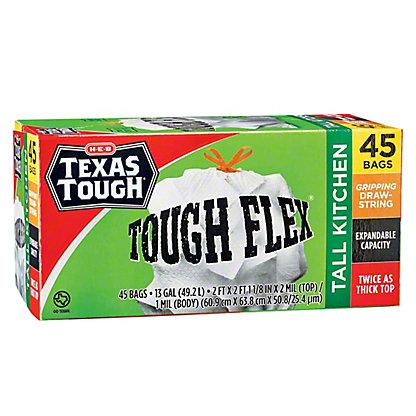 H-E-B Texas Tough Tall Kitchen Tough Flex 13 Gallon Trash Bags, 45 ct