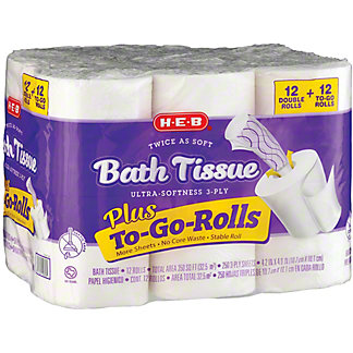 H-E-B Twice As Soft Plus To-Go-Rolls Toilet Paper, 12 Double Rolls