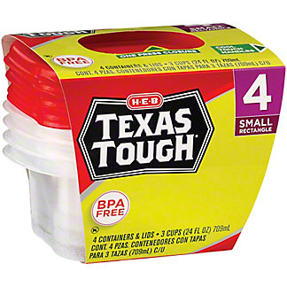 H-E-B Texas Tough Small Rectangle 24 oz Food Storage Containers, 4 ct