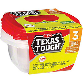 H-E-B Texas Tough Deep Square 40 oz Food Storage Containers, 3 ct