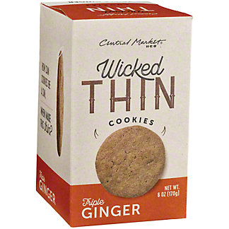 Central Market Wicked Thin Triple Ginger Cookies, 6 oz