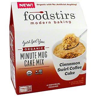 Foodstirs Organic Cinnamon Swirl Coffee Minute Mug Cake Mix, 10.16 oz