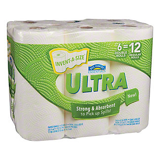 Hill Country Essentials Ultra Invent-a-Size Double Roll Paper Towels, 6 ct