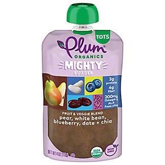Plum Organics Mighty Protein & Fiber Pear White Bean Blueberry Date & Chia, 4 oz