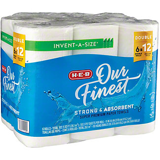 H-E-B Our Finest Invent-a-Size Double Roll Paper Towels, 6 ct