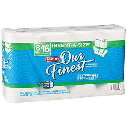 H-E-B Our Finest Invent-a-Size Double Roll Paper Towels, 8 ct