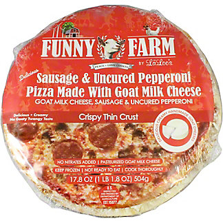 Funny Farm Sausage and Uncured Pepperoni Pizza with Goat Cheese, 17.8 oz