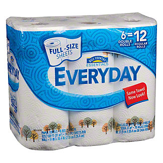 Hill Country Essentials Everyday Full Size Sheets Double Roll Paper Towels, 6 ct