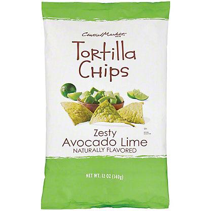 Central Market Zesty Avocado Lime Tortilla Chips, 12 oz