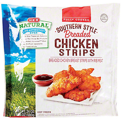 H-E-B Fully Cooked Southern Style Breaded Chicken Strips, 24 oz
