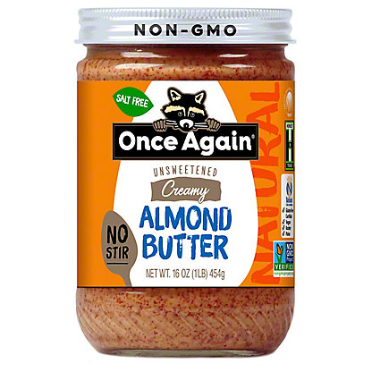 Once Again Unsweetened Creamy No-Stir Almond Butter, 16 oz
