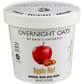 Dave's Natural Overnight Oats Cup Apple Nut, 2.1 oz