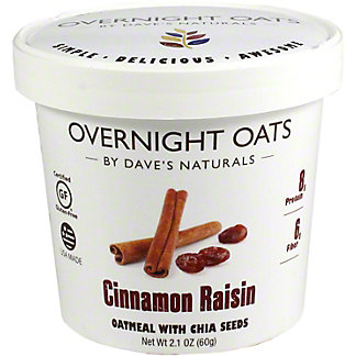 Dave's Natural Overnight Oats Cup Cinnamon Raisin, 2.1 oz