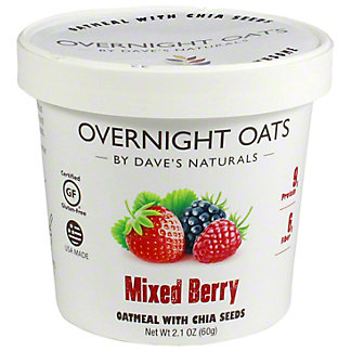 Dave's Natural Overnight Oats Cup Mixed Berry, 2.1 oz