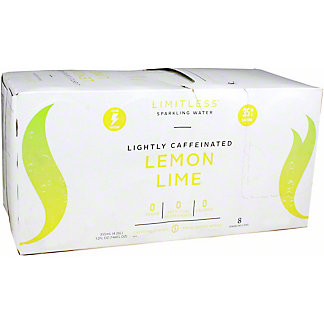 Limitless Sparkling Water Lemon Lime, 8/12 OZ Cans
