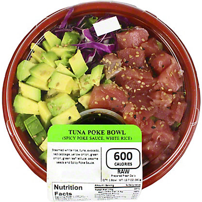 Yummi Sushi Salmon Poke Bowl White White Rice Spicy Poke Sauce, 13 OZ