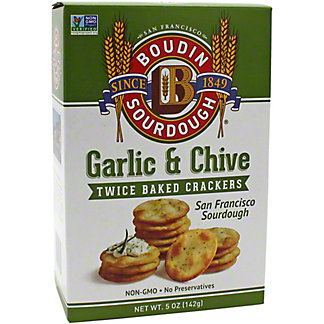 Boudin Sourdough Garlic Chive Crackers, 5 OZ