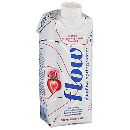Flow Organic Strawberry & Rose Alkaline Spring Water, 16.9 oz