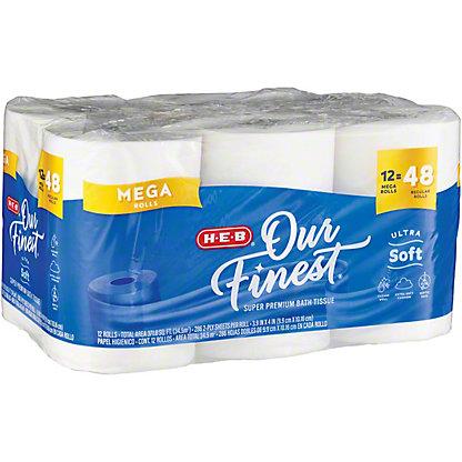 H-E-B Our Finest Ultra Soft Toilet Paper, 12 Mega Rolls
